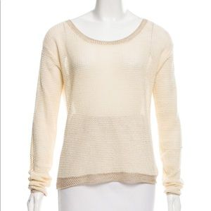 SALE NWT! Magaschoni Ivory-Gold Open Knit Sweater